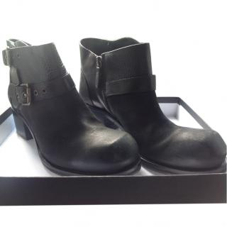 Alexander McQueen MCQ black leather biker boots