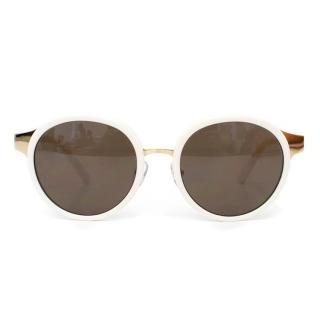 Tory Burch White Round Sunglasses