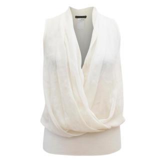Plein Sud Cream Silk Plunge Blouse
