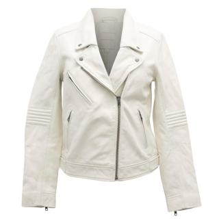 Gerard Darel White Leather Biker Jacket
