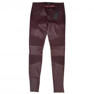J Brand 'Tonya' moto style leather skinny trousers Merlot