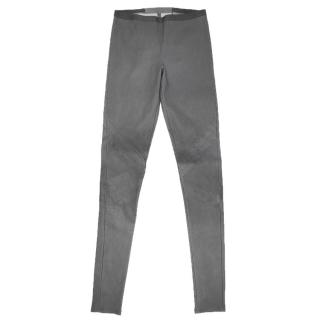 Rick Owens Grey Leather Trousers