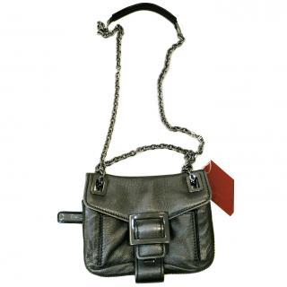 ROGER VIVIER Gray silver leather MICRO METRO BAG