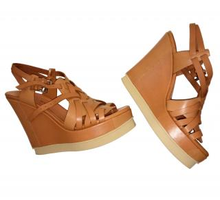 Philosophy di Alberta Ferretti Leather Platform Wedge Sandals
