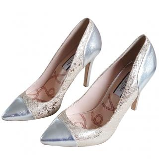 Lucy Choi silver and beige pumps