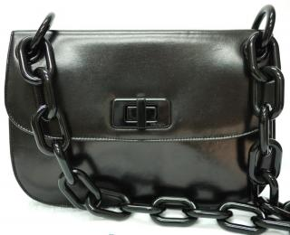 PRADA Madras Leather Chain Strap Shoulder Bag