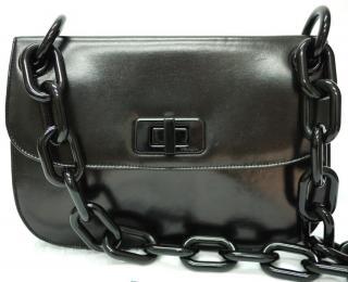 PRADA Madras Leather Chain Strap Shoulder Bag
