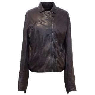 Bottega Veneta Plum Leather Jacket
