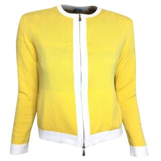 Malo yellow & white round neck cotton stretch cardigan with zip