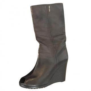 Prada Peep Toe black leather Boots