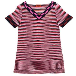 MISSION Pink Striped Short Sleeved Top