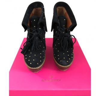 Mulberry navy gold studded boots wedge 39/6