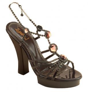 YSL Chocolate Brown Patent Topaz & Diamante Platform Sandals