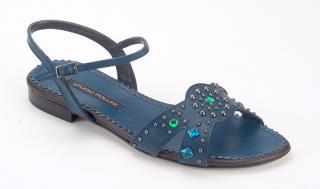 Pollini Navy leather Open toe Sling back Flat sandals