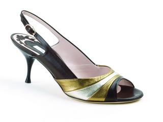 Pollini Chocolate Leather Kitten Heel Peep Toe Sling backs