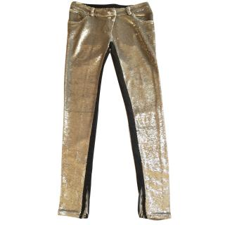 Iro Distressed Silver Sequin Pants