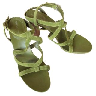 Sergio Rossi suede green sandals high heels with straps