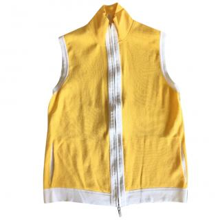 Malo yellow & white high neck cotton stretch waistcoat with zip