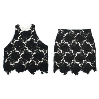 Lover Black Crochet Top and Skirt Set