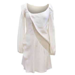 Nina Ricci Off-White Silk Long Sleeve Dress