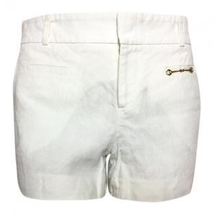 Gucci cream linen shorts gold tone horsebit