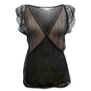 Stella McCartney Sheer Black Wrap-Around Top