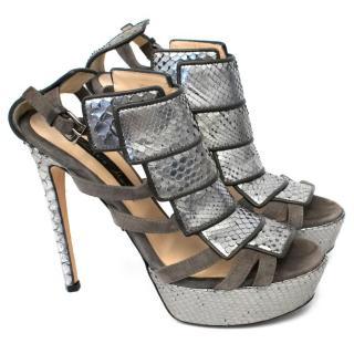 Chrissie Morris Silver Snake Skin Platform Heel