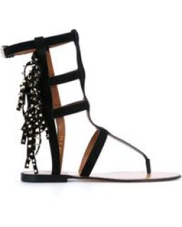 Valentino black suede gladiator sandals with gold rockstud and tassels