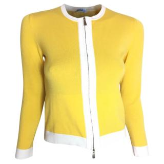 Malo yellow & white round neck cotton stretch cardigan with zip