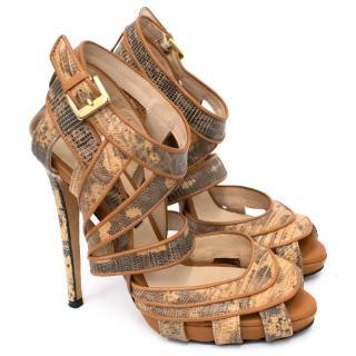 Chrissie Morris Tan Snake Skin Heel