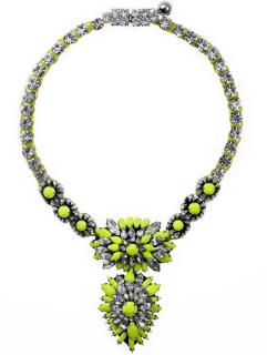 Shourouk silver plated Yellow embellished necklace
