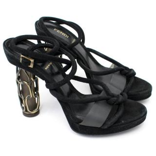 Fendi Black Heeled Sandals With Decorative Heel