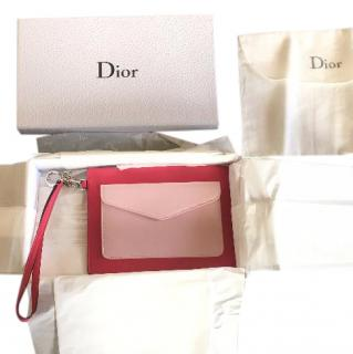 Christian Dior pink leather card holder wrislet pouch