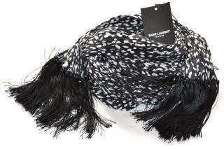 Saint Laurent babycat silk black-white pleated scarf