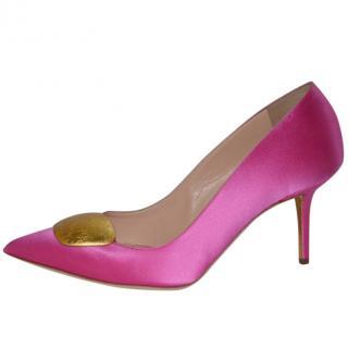 Rupert Sanderson Pink Satin High Heel Pumps with Gold Pebble
