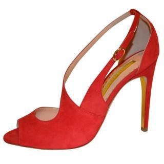 Rupert Sanderson Jewel Red Suede High Heel Sandals