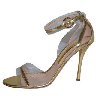 Rupert Sanderson Gold Leather High Heel Sandals