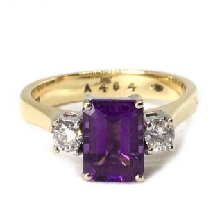 18ct Gold Amethyst & 0.20ct Diamond Ring