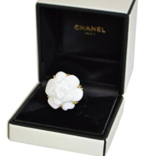 Chanel White Camelia ring