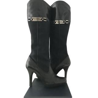 Versace Fabric And Leather Heeled Boots