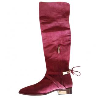 Christian Dior Burgundy Suede Boots