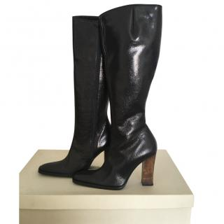 Fortune Valentino Black Leather Vitelo Boots - Never Worn