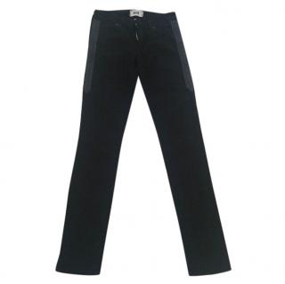 Paige skinny black jeans with leather trim