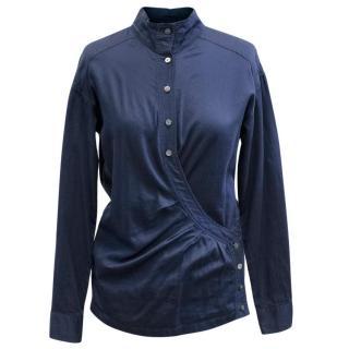Dries Van Noten Blue Mandarin Collar Shirt