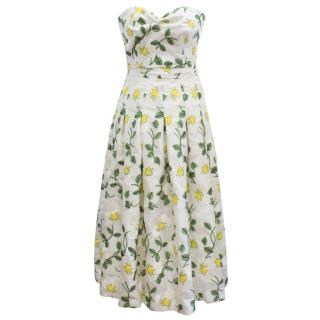 Bambah Benny White Patterned Sweetheart Bustier and Midi Skirt