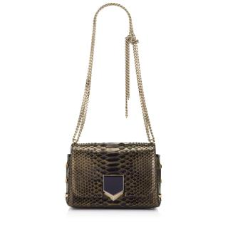 Jimmy choo black and gold tipped python lockett petite