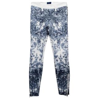 Mother Skinny Jean with Blue Floral Print