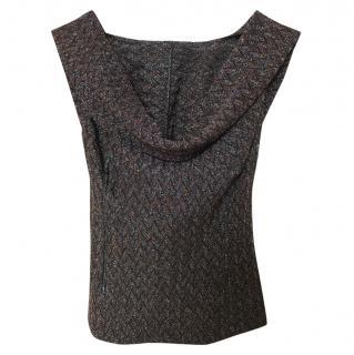 Missoni metallic brown crochet backless top