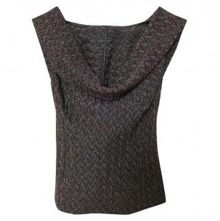 Missoni metallic brown crochet backless top
