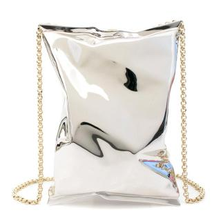 Anya Hindmarch Silver Crisp Packet Clutch